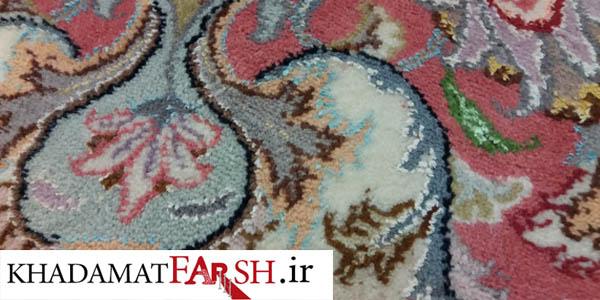 در این تصویر پس از بیدخوردگی فرش دستباف میبینید که فرش به صورت کامل ترمیم شده