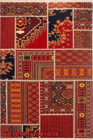 فرش ماشینی ساوین طرح چهل تیکه زمینه قرمز